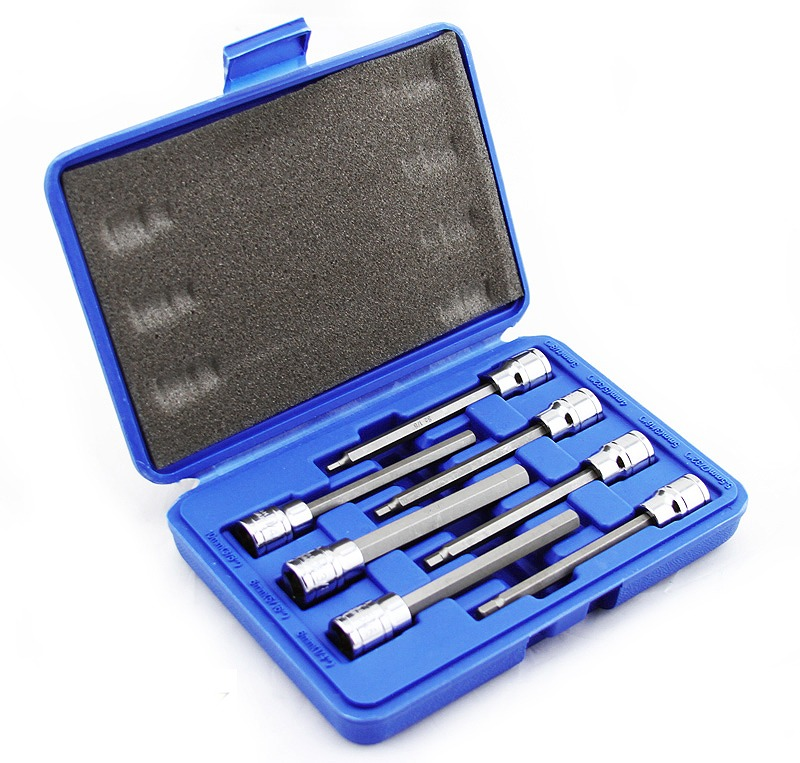 """3/8"""" MM Extra Long S2 Hex Bit Sockets Tool Set with Case SAE, 7PC"""