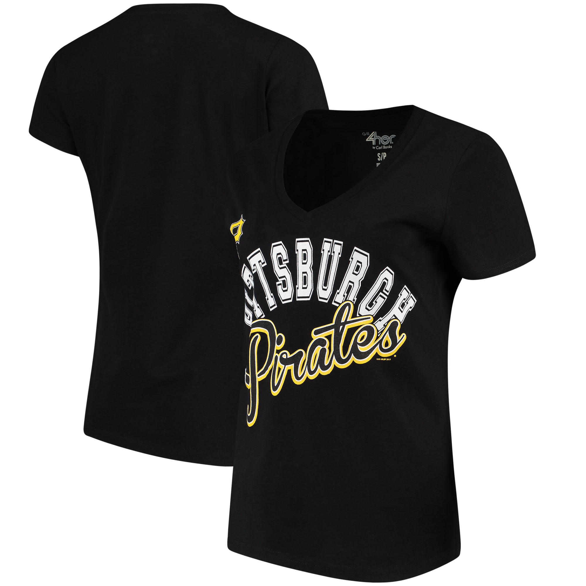 Pittsburgh Pirates G-III 4Her by Carl Banks Women's Fair Catch V-Neck T-Shirt - Black