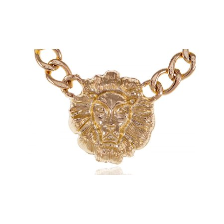Chunky Lion Head Bling Bling Chain Link Urban Fashion Statement Necklace (Urban Bling)