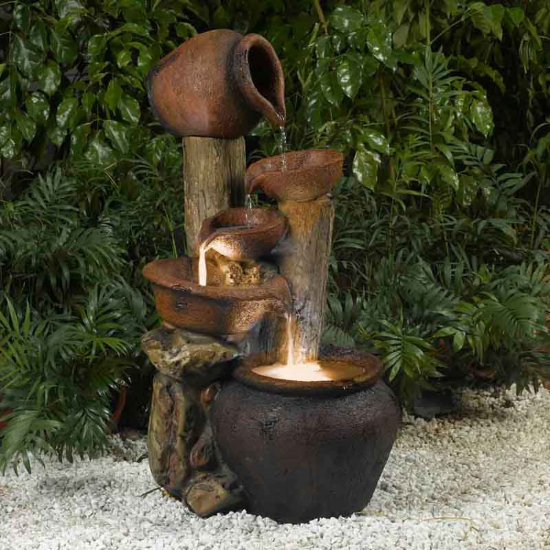 Jeco Pentole Pot Indoor Outdoor Fountain with Illumination by Fountain Cellar