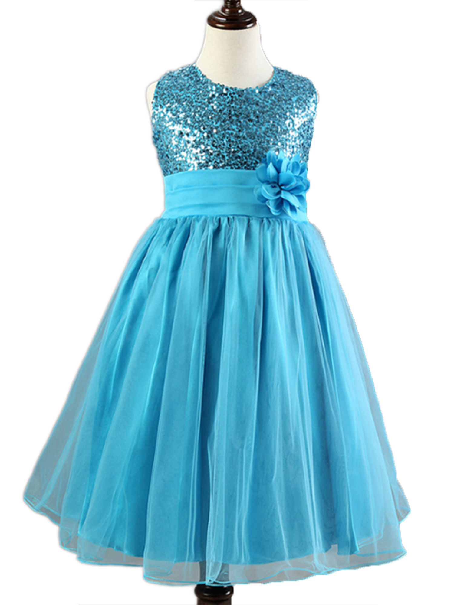 StylesILove Lovely Sequin Flower Girl Dress, 5 Colors (1-2 Years, Blue)