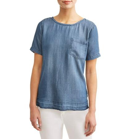 - Women's Short Sleeve Denim T-Shirt