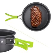 Camping Cookware, 15Pcs Backpacking Gear Hiking Outdoors Non Stick Camping Cookware Set 1-2 People Lightweight Compact Durable Pot Pan Bowls