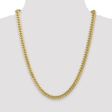 14K Yellow Gold 6.75mm Semi-Solid Miami Cuban Chain - image 1 de 4
