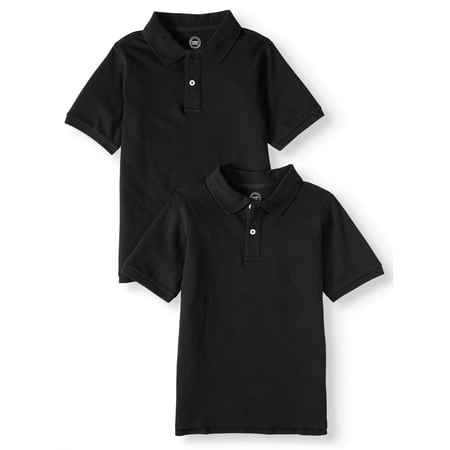 Wonder Nation School Uniform Short Sleeve Pique Polos, 2-piece Multipack (Little Boys & Big Boys) Boys Original Pique Polo Shirt