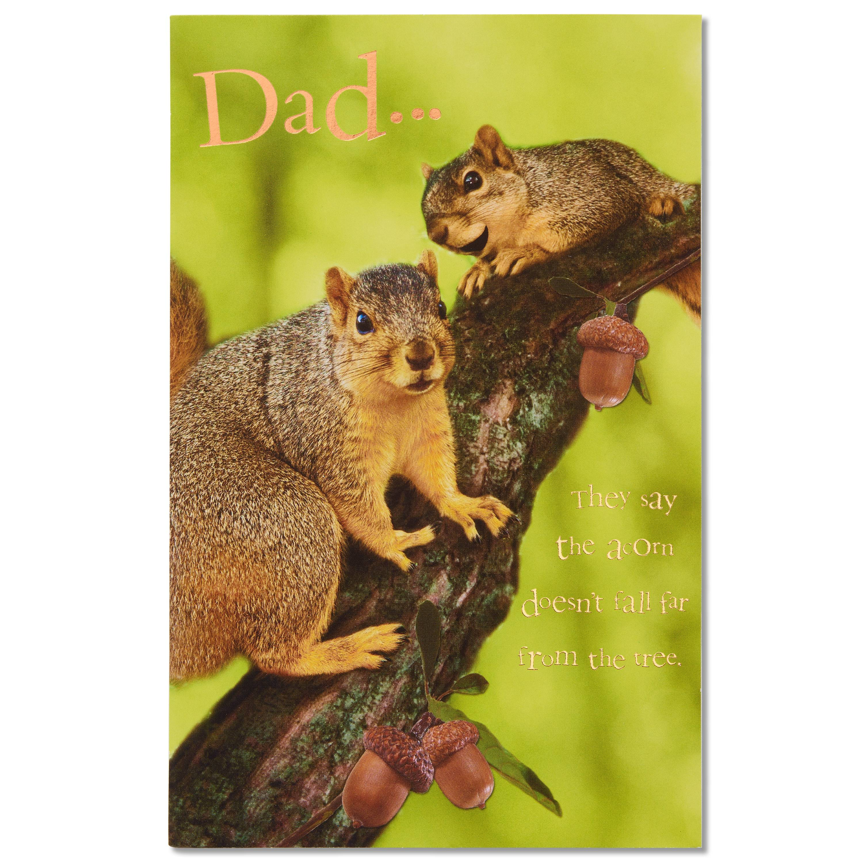 Funny Little Nut Birthday Card for Dad with Foil
