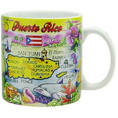 Puerto Rico Map Caribbean Souvenir Collectible Large Coffee Mug