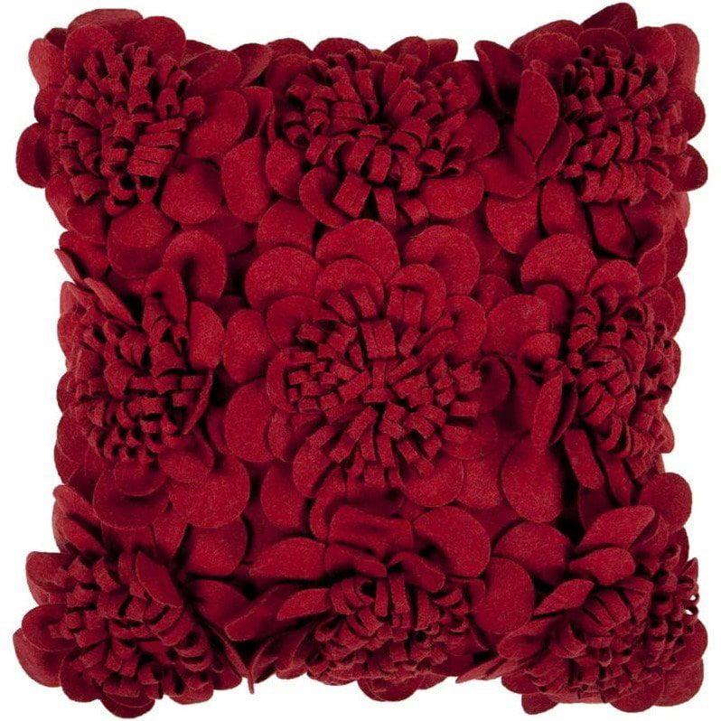Surya Mums Decorative Pillow - Maroon