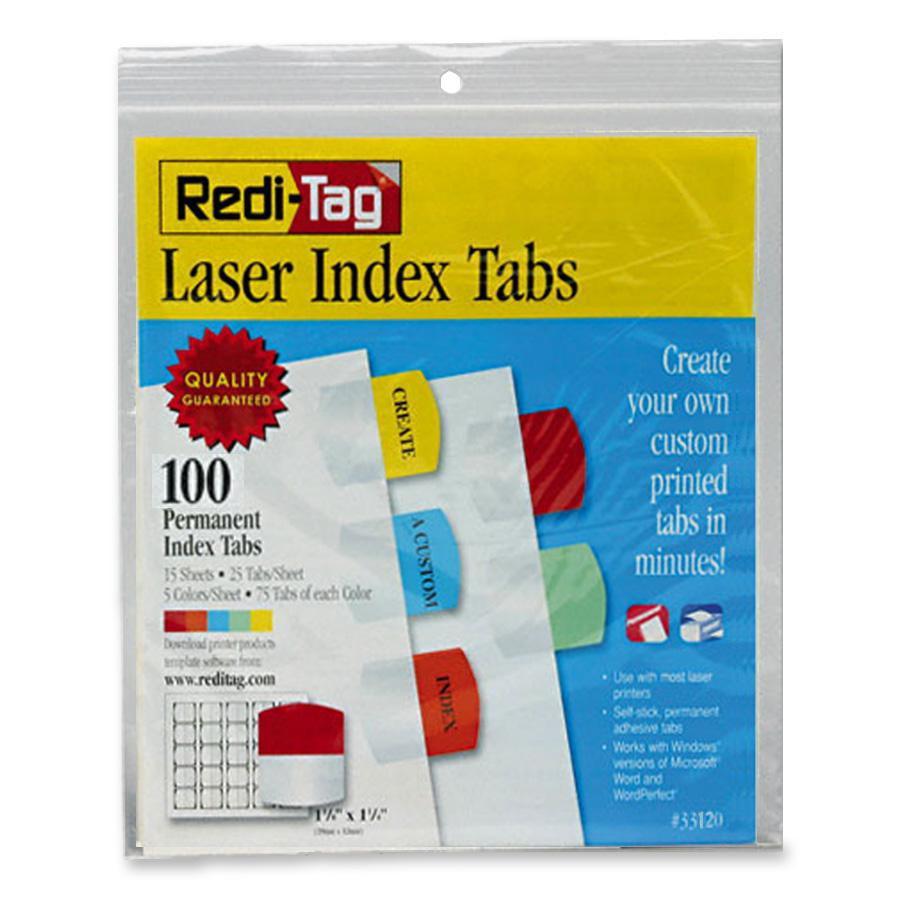 Redi-Tag, RTG33120, Laser Printable Index Tabs, 100 / Pack