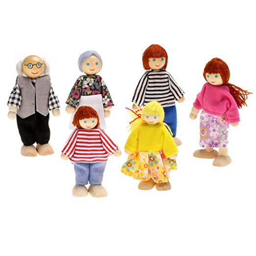 Wooden Poseable Happy Doll Family Of 7 People For Dollhouse Creative High Qualit