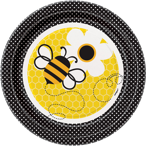 """7"""" Bumble Bee Paper Dessert Plates, 8ct"""