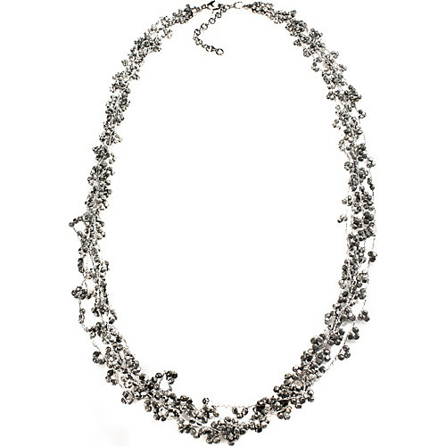 Alexa Starr Long Burnished Silver Multi-row Threaded Bead Necklace