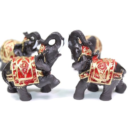 Set of 4 Feng Shui Black Thai Elephant Statues Lucky Figurine Gift & Home (Best Feng Shui Colors)