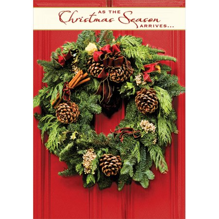 Designer Greetings Wreath On Bright Red Door Box Of 18 Christmas