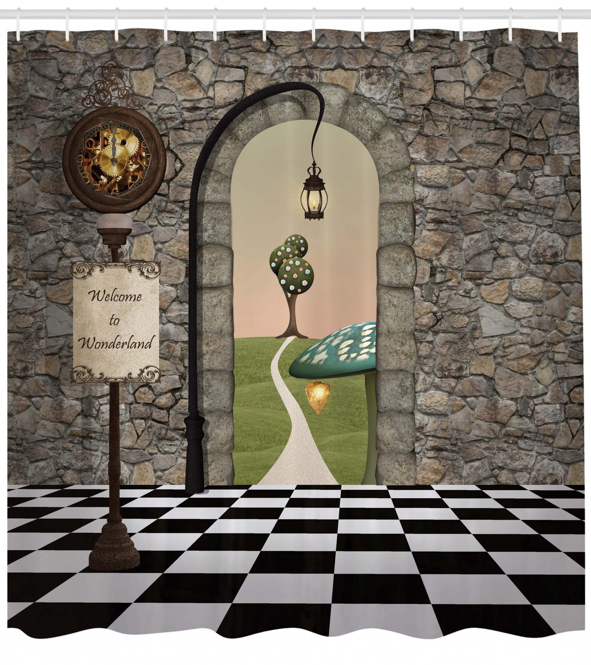 Alice In Wonderland Shower Curtain Welcome Black And White Floor Landscape Mushroom Lantern Fabric Bathroom Set With Hooks Multicolor
