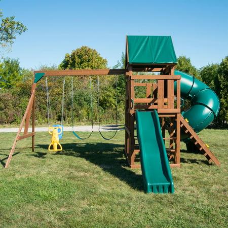 Swing N Slide Denali Tower Wooden Swing Set With 5 Turbo Tube Slide