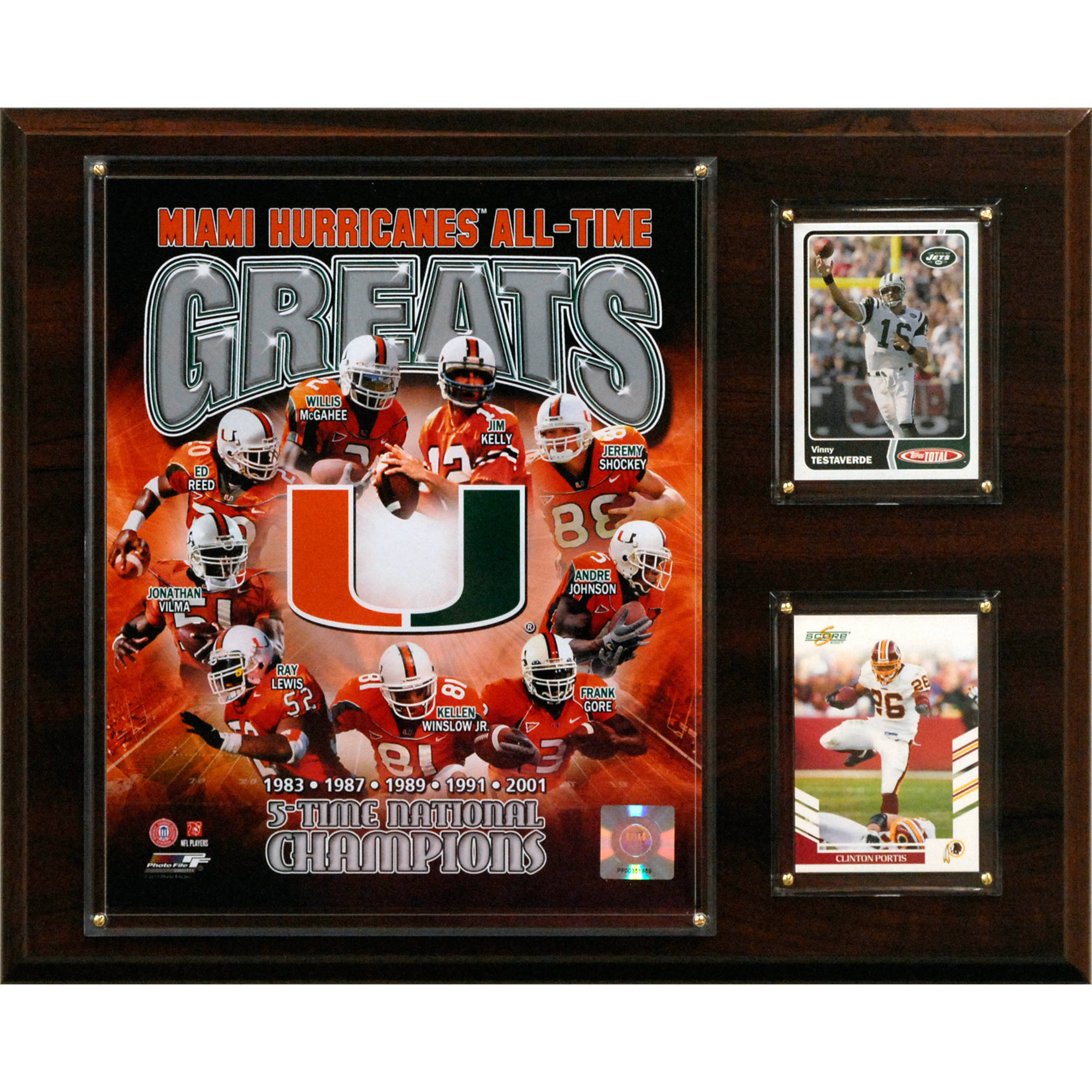 C&I Collectables NCAA Football 12x15 Miami Hurricanes All-Time Greats Photo Plaque