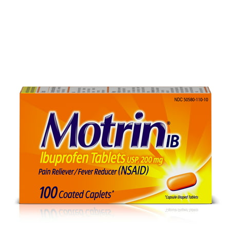 Motrin IB, Ibuprofen 200mg Tablets for Pain & Fever Relief, 100