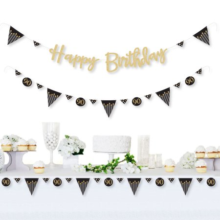 90th Birthday Party Decorations (Adult 90th Birthday - Gold - Birthday Party Letter Banner Decoration - Real Gold Glitter Happy Birthday Banner)
