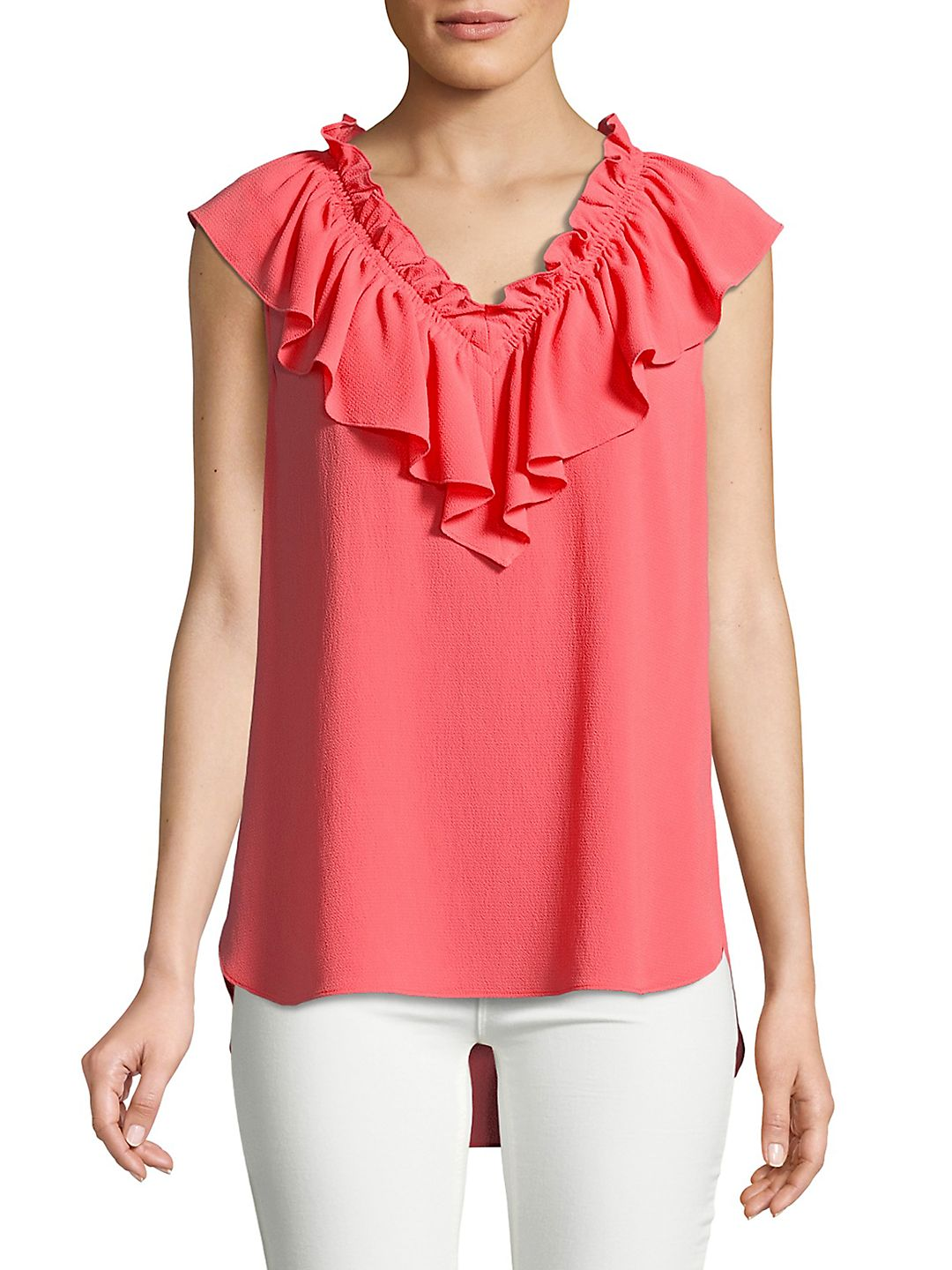 Sleeveless Ruffled Crepe Blouse