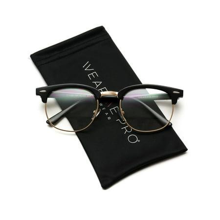WearMe Pro - Vintage Inspired Classic Half Frame Horn Rimmed Clear Lens Glasses - Prom Glasses