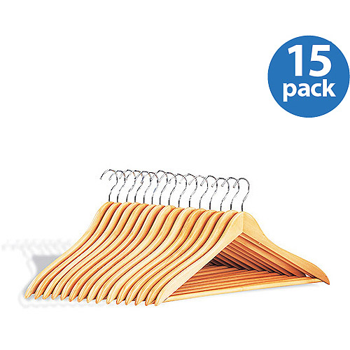 Wood Hangers w/ Bar, set of 15