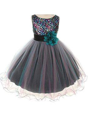 2c5c9a91ab9 Product Image Flower Girls Dress Multi Sequin Beaded Dress Teal Blue Baby  S-XL Girls 2-. BNY Corner. Product ...
