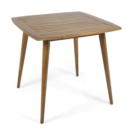 Stanford Outdoor Square Acacia Wood Dining Table with Straight Legs, Teak