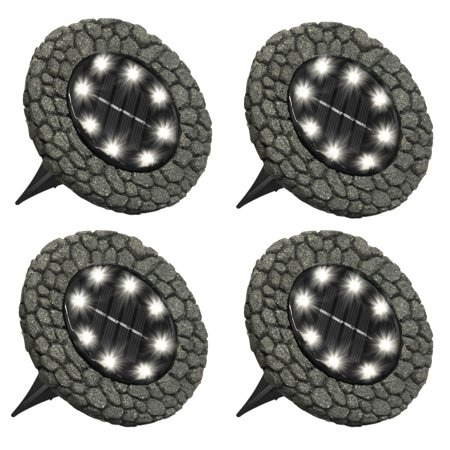 Bell + Howell Disk Lights Stone – Heavy Duty Outdoor Solar Pathway Lights – 8 LED, Auto On/Off, Water Resistant, with Included Stakes, for Garden, Yard, Patio and Lawn -As Seen on TV