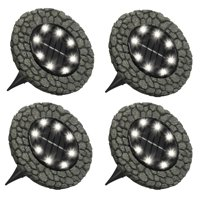 Bell + Howell Disk Lights Stone  Heavy Duty Outdoor Solar Pathway Lights  8 LED, Auto On/Off, Water Resistant, with Included Stakes, for Garden, Yard, Patio and Lawn -As Seen on TV