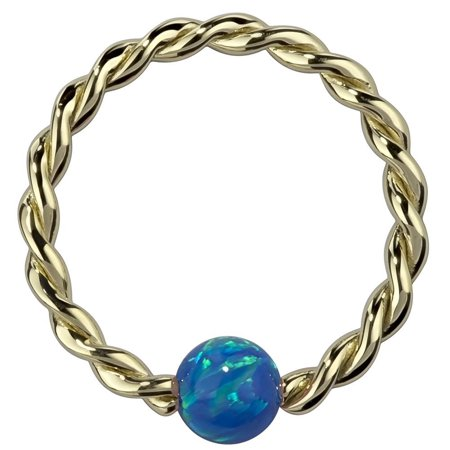 Opal 14K Yellow Gold Twisted Captive Bead Ring](Purple On Mood Ring)