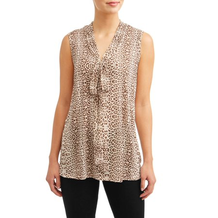 Dkny Animal Print - Women's Tie Neck Animal Print Blouse