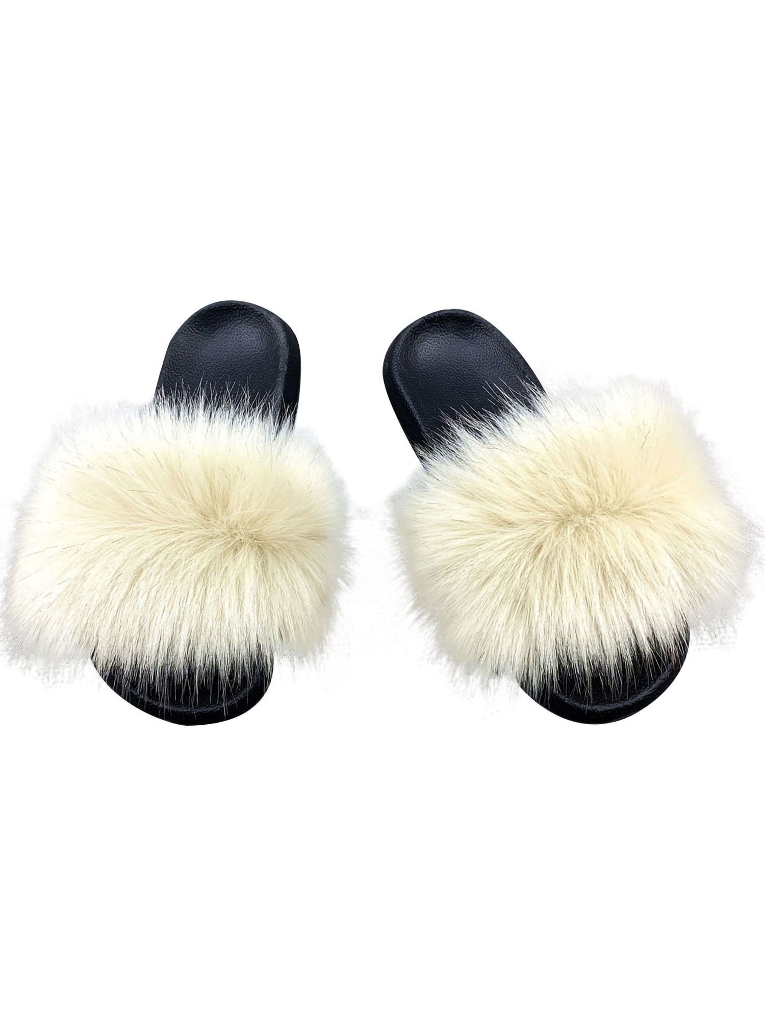 Women/'s Real Fox Fur Slides Fuzzy Furry Slippers Comfort Sliders Sandals Shoes