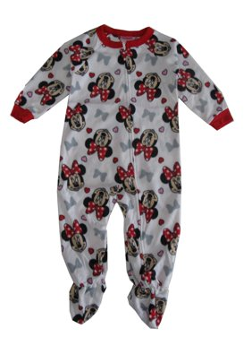 Disney Little Girls Red White Minnie Mouse Print Zip-Up Footed Sleeper