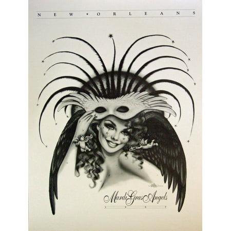 Andrea Mistretta Famous 1997 Mardi Gras Angels Art Print, World Famous Artist Andrea Mistretta- By New Orleans