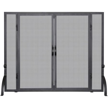 Uniflame Corporation Single Panel Wrought Iron Fireplace Screen Elk Rustic Fireplace Screen
