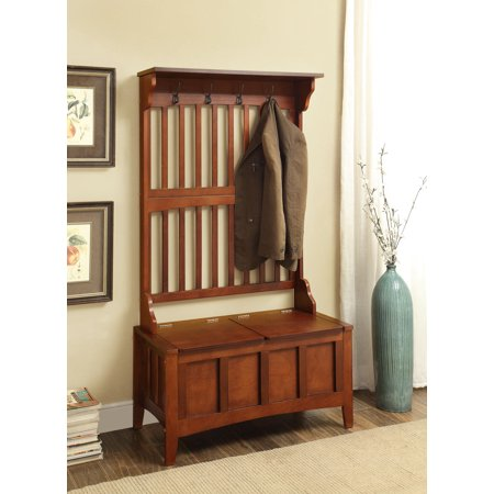 Clothes Tree Kids Furniture (Linon Hall Tree with Storage Bench, Walnut, 18 inch Bench Seat )