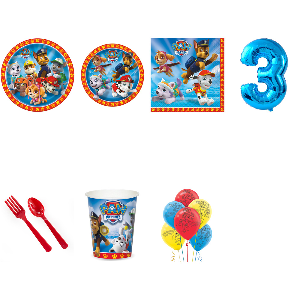 PAW PATROL PARTY SUPPLIES PARTY PACK FOR 16 WITH BLUE #2 BALLOON