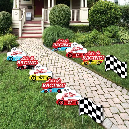 Let's Go Racing - Racecar - Lawn Decorations - Outdoor Race Car Birthday Party or Baby Shower Yard Decorations - 10 Ct - Cars Birthday Decorations