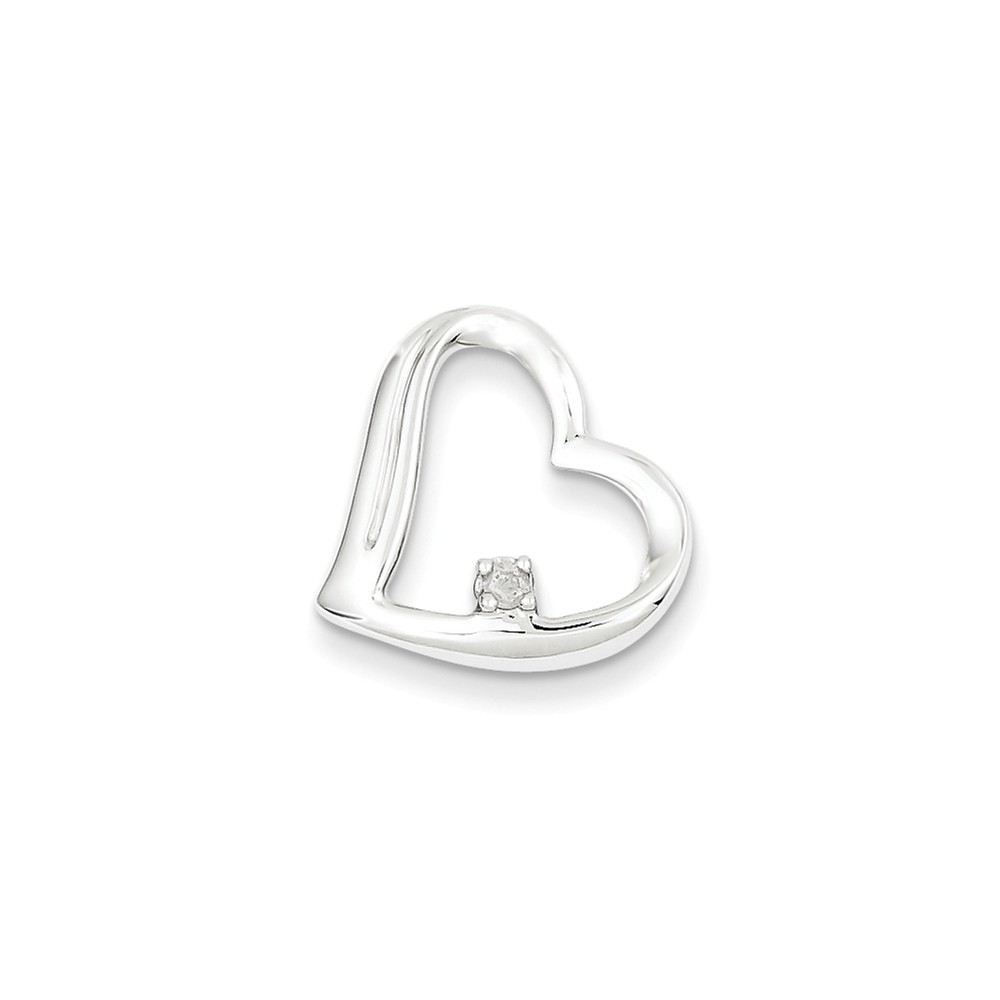 Sterling Silver Diamond Heart Pendant. Carat Wt- 0.05ct