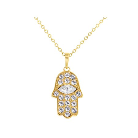 """14k Gold Plated Clear Crystal Hamsa Hand of Fatima Pendant Jewish Necklace 19"""""""