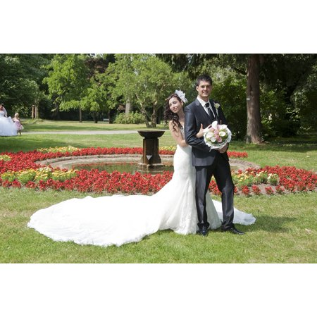 Laminated Poster Sun Photo Shoot Park Bride Flowers Bridal Bouquet