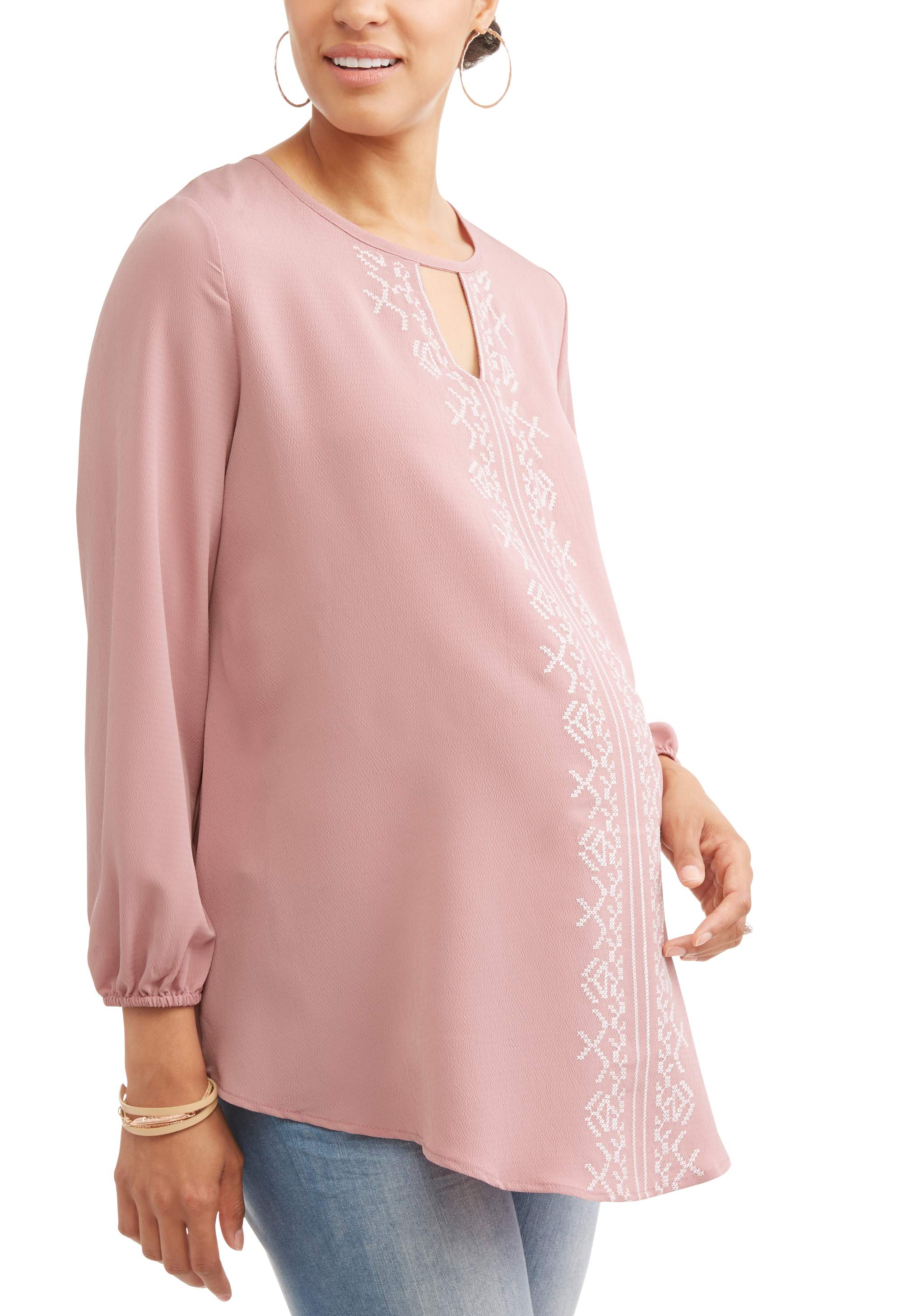 Maternity Embroidery Front Keyhole Tunic Blouse