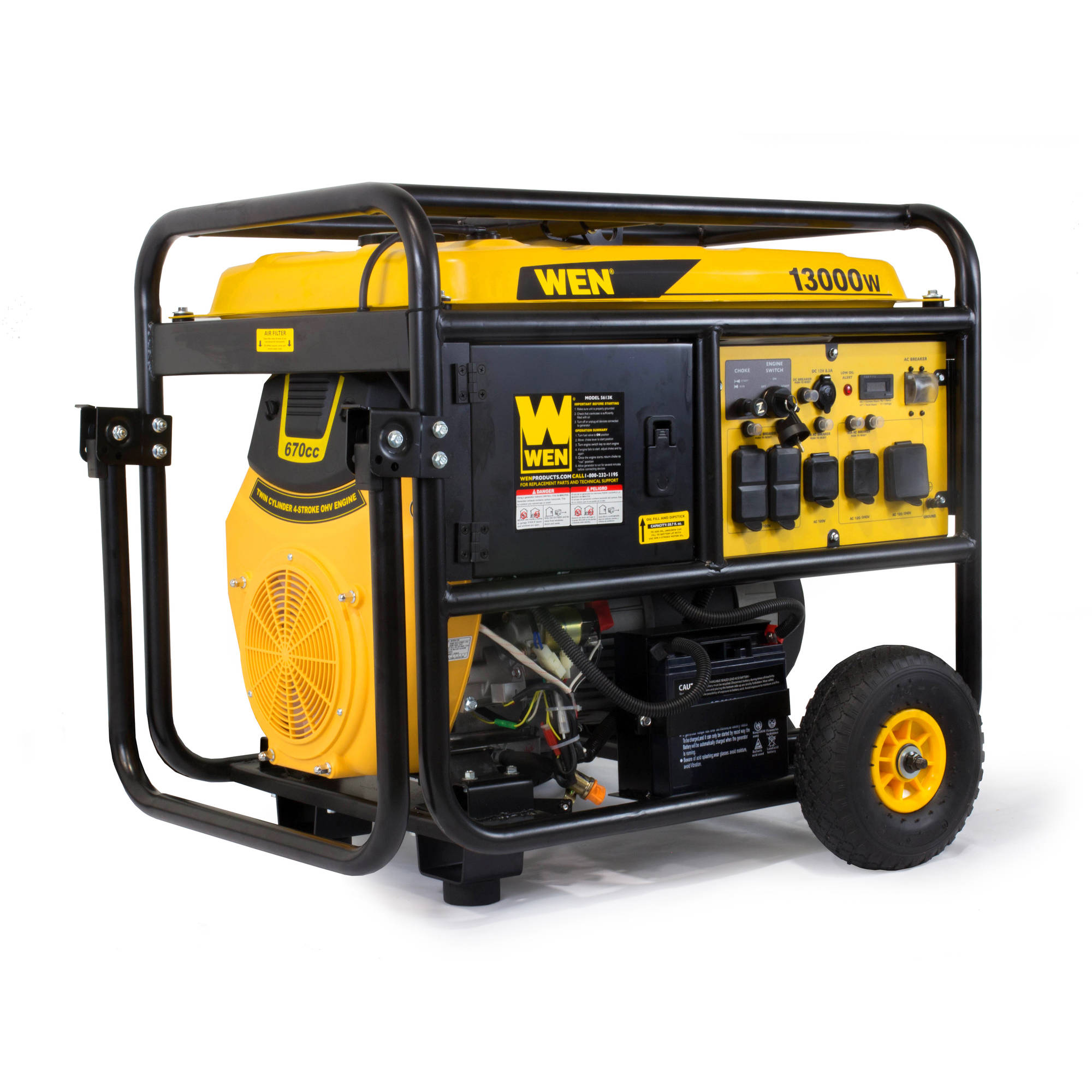 WEN 13000W Portable Standby Generator with Wheel Kit and Electric Start, CARB Compliant