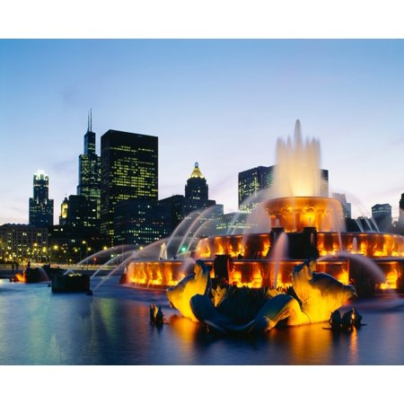 Fountain in a city lit up at night Buckingham Fountain Chicago Illinois USA Stretched Canvas - Panoramic Images (29 x (Chicago Buckingham Fountain)