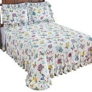 Butterfly Joy Floral Lightweight Pliss Summer Cotton Ruffle Bedspread
