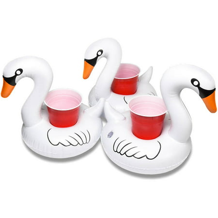 GoFloats Inflatable Swan Drink Holder, 3-Pack, Float your drinks in style](Flamingo Drink Holder)