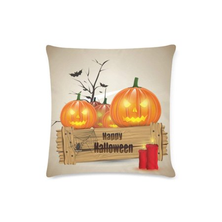 BOSDECO Halloween Pumpkins 2 Decorative Pillow Cases Sofa Throw Pillow Covers Two Sides Printing 18x18 inches - image 1 of 1