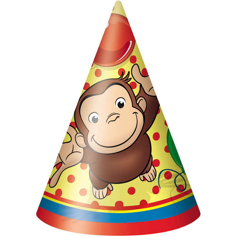 Curious George Party Hats, 8ct