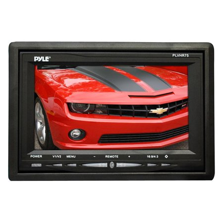 PYLE PLVHR75 - Headrest Monitor, 7-inch TFT LCD Widescreen w/ 2 Video Inputs, Wireless Remote, Cold Cathode Light, Headrest Shroud, Universal Stand